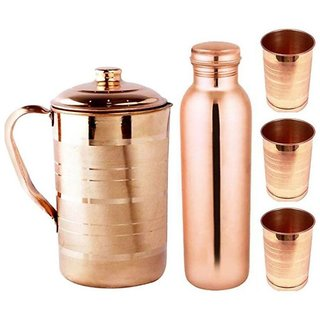 Clickmart Pure Copper Jug 1.5 L, Bottle 1L and 3 Glasses 300 ML ( Set of 5 Pieces)
