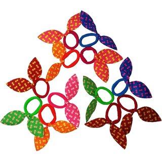Uniqon (Set of 12pc) Multicolor Bunny Rabbit Ears Cloth Sports Hair Tie Rubber Band