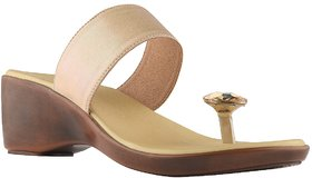 Nectar Kicks Women's Gold Synthetic Leather Diamond Wedges Sandals