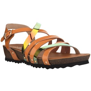 Nectar Kicks Women's Brown Patent Material Chrome Patent Sandals