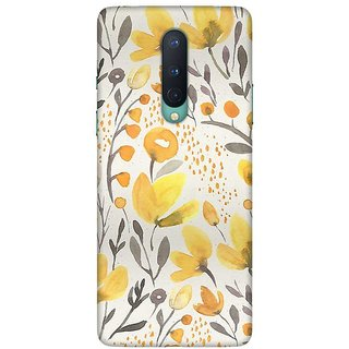 OnHigh Designer Printed Hard Back Cover Case For OnePlus 8, Yellow Flowers Case