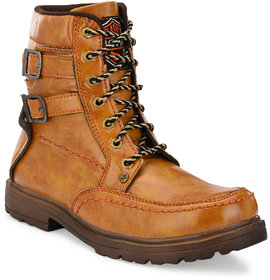 Big Fox Brown Lace-up Boots For Men