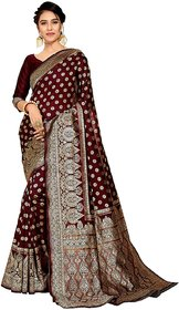 Maroon Silky Banarasi Silk Saree With Blouse