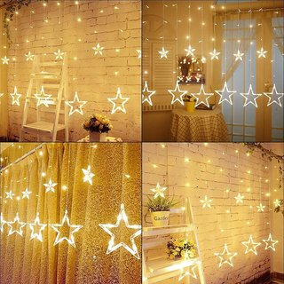 LED Plastic Star Curtain String Lights with 8 Modes Hanging for Decoration (Warm White) - Christmas Star Light Decoratio