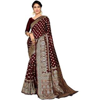Maroon Silky Banarasi Silk Saree With Blouse