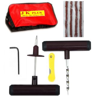Tubeless Tyre Puncture Portable Repair Kit with plug, cutter and carry case