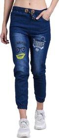 TIA Women Stylish Denim Slim Fit Joggers (Dark Blue)