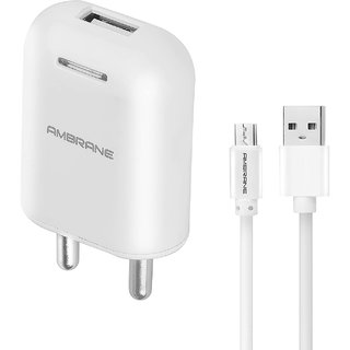 Ambrane AWC 38 2.1A Fast Wall Charger for All Mobiles, Tablets Other Devices + Free Micro USB Cable  White  Adapters   Chargers