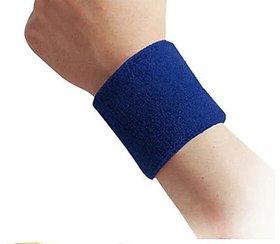 Boys Mens Sports Wear Wrist Band 2 PC Blue