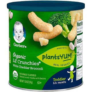 Gerber Organic Lil' Crunchies for Toddler (1.59oz) - White Cheddar Broccoli (Pack of 6)