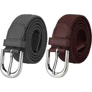 TMN Unisex Grey  Brown Stretchable Belts BT-GRY006,BT-TAN005