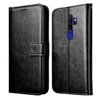 AMERICHOME Inside TPU with Card Pockets Magnetic Closure Flip Cover for Oppo A9 2020 (Black)