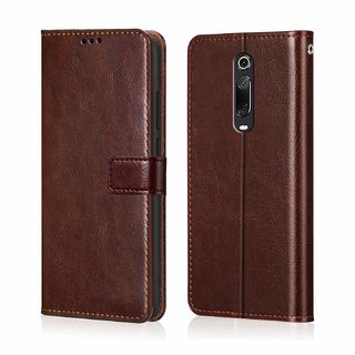 AMERICHOME Inside TPU with Card Pockets Magnetic Closure Flip Cover for Redmi K20 Pro (Brown)