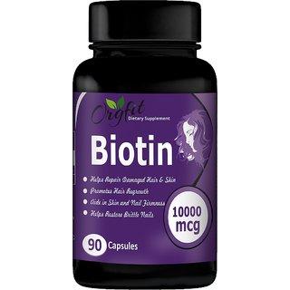 Orgfit Biotin Vitamin B7 Supplement for Hair, Skin  Nails 10000 mcg 90 Capsules