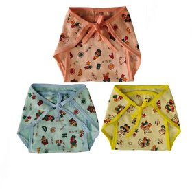 Baby Boy and Baby Girl Soft Cotton Multicolor Nappy (0-1 yrs Baby, Pack of 3)