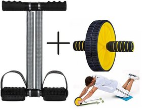 Evergreen Combo Ab Roller With Double Tummy Trimmer with Mat By Yash Hr