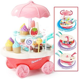 Chocozone Small Ice Cream Play Cart Kitchen Set Toy with Lights and Music ( 30pcs), Toys for 4 Years Old Girls