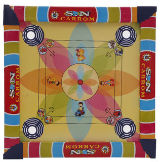 R L SONS Kids Carrom Board and Ludo Game Combo   2 in 1  with Coins, Striker for Carrom and Dice  16 Tokens for Ludo