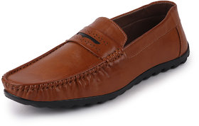 Fausto Men's Tan Casual Penny Loafer Shoes