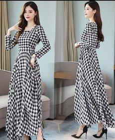 Raabta RWD-0031 Black And White Check Long Dress