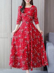 Raabta RWD-01025 Red Flower Print Dress