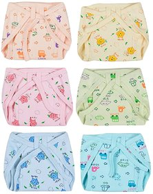 Kotton Labs Newborn Baby Hosiery Cotton Cloth NappiesXS - 6 pcs