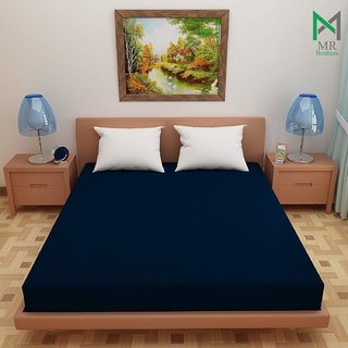 MR Brothers Soft terry Cotton Waterproof and Dustproof Mattress Protector(60x72 Inches, Queen Bed Size)-Blue