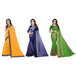 Saadhvi Yellow and Dark Blue and Light Green Cotton Silk Lace Work and  Striped Pack of 3 Saree with Blouse