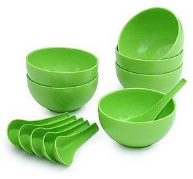 Plastic Soup Bowl Set of 12pcs (6 Bowls 6 Soup spoons) Green