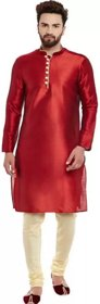 RYLEN Men Kurta and Churidar Set Dupion Silk (RED)