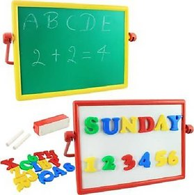 Magnetic Alphabets and Numbers Board Writing Slate Write and Wipe for early learners kids Chalk Duster 2 in 1 board