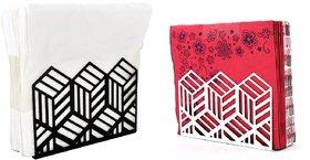 Metal Tissue Paper Holder (Pack of 2) Black -& White Designer