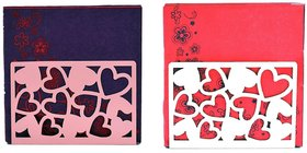 Metal Tissue Paper Holder (Pack of 2) Little Hearts Design White & Pink