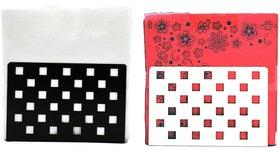 Metal Tissue Paper Holder (Pack of 2) Small Square Shape Design Black & White