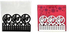 Metal Tissue Paper Holder (Pack of 2) Fancy Black & White Design