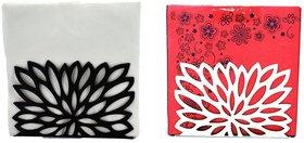 Metal Tissue Paper Holder (Pack of 2) Leaf Black & White Design