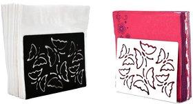Metal Tissue Paper Holder (Pack of 2) Little Beautiful Butterfly Black & White Design