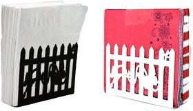 Metal Tissue Paper Holder (Pack of 2) Fancy Design Black & White