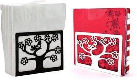 Metal Tissue Paper Holder (Pack of 2) Design Tree Black & White