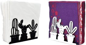 Metal Tissue Paper Holder (Pack of 2) Cactus Design Black & White