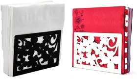Metal Tissue Paper Holder (Pack of 2) Thick Flower Black & White Design
