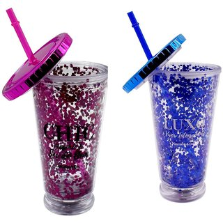 Acrylic Sipper Combo (Pack of 2) Frosted With Straw - 500ml (4425-A/D)