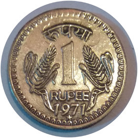 ONE RUPEE INDIA 1971 COIN 10GM + EF VF TOP RATED COIN