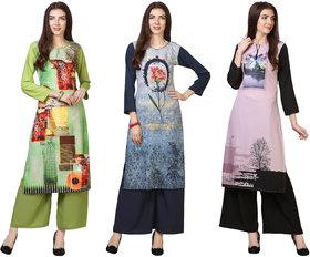 Saadhvi Green and Blue and Pink Crepe Abstract Print Pack of 3 Kurtas
