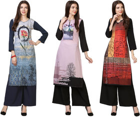 Today Deal Blue and Pink and Red Crepe Floral And Striped Pack of 3 Kurtas