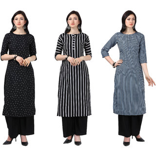 Today Deal Black and White and Grey Crepe Striped Pack of 3 Kurtas