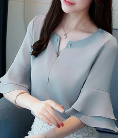 Raabta Grey Vneck Top With Double Bell Sleeve