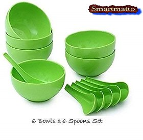 Round Shape Soup Bowls Set 6 Bowl and 6 Spoon, Microwave Safe for Home and Office Use (Green)