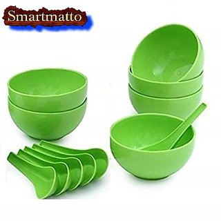 Smart matto Plastic Round Shape Soup Bowls Set 6 Bowl and 6 Spoon, Microwave Safe for Home and Office Use (Green)