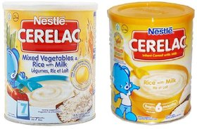 Nestle Cerelac Combo 400g (Pack of 2) Mixed Vegetables  Rice + Rice with Milk